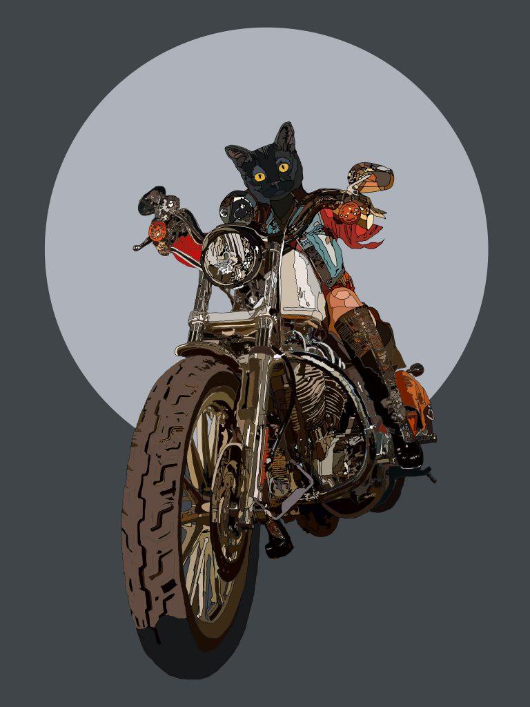Beyond the Horizon - Cat biker girl human hybrid graphic fine art
