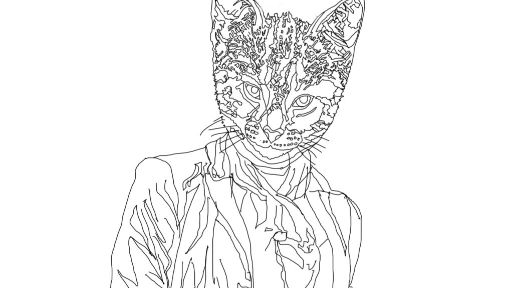 Cool for Cats 001 - digital 'hand drawn' line drawing (work in progress)