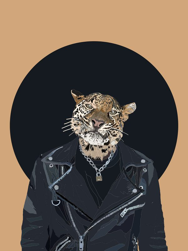 The Word on the Street - Leopard human hybrid graphic fine art
