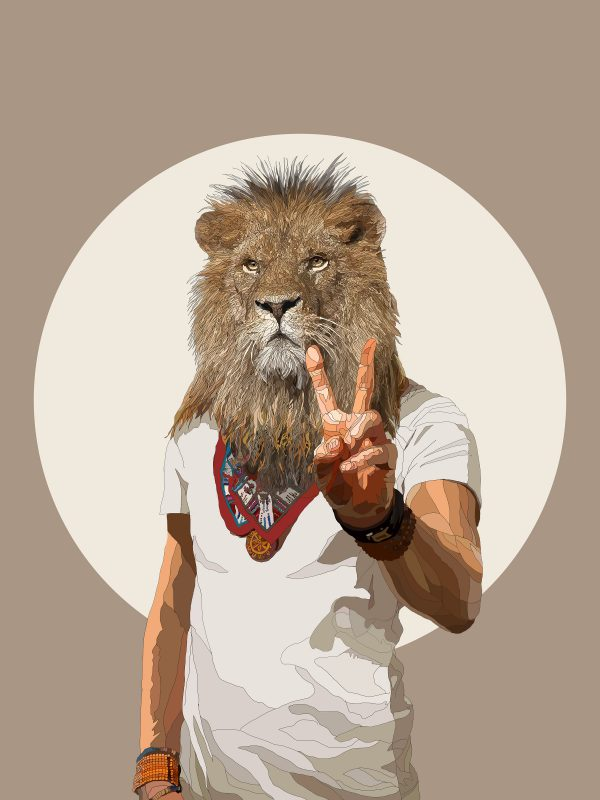 Peace and Love And All That Jazz - Lion human hybrid graphic fine art