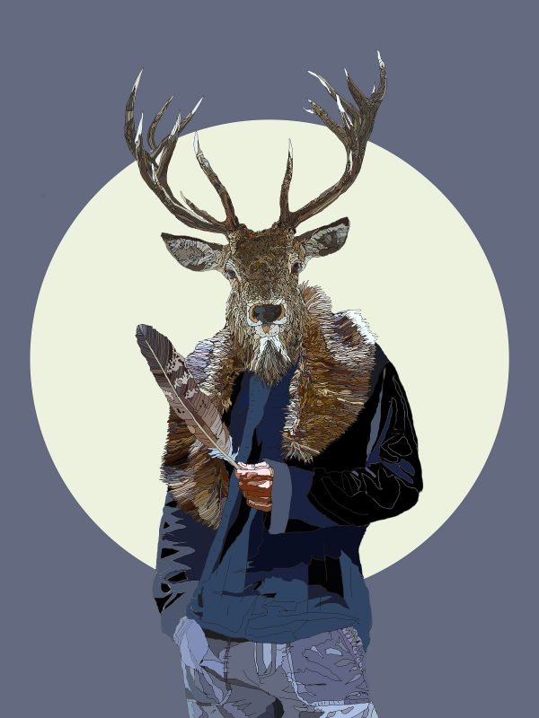We Are The New Gods - Stag human hybrid graphic fine art