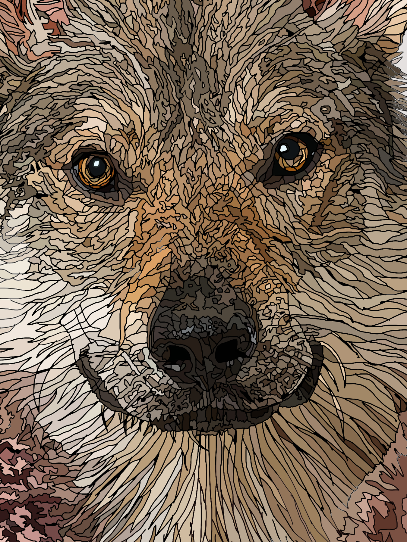Bad Moon Rising - Male Wolf human hybrid graphic fine art (detail)