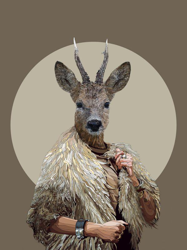 The Golden Fleece - Deer human hybrid graphic fine art