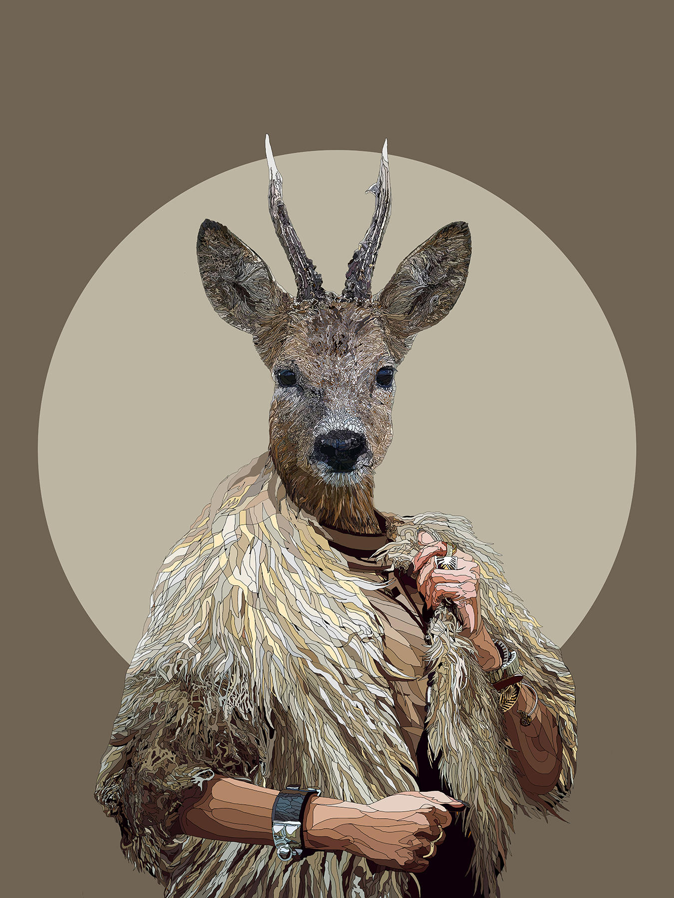 The Golden Fleece - Deer human hybrid graphic fine art