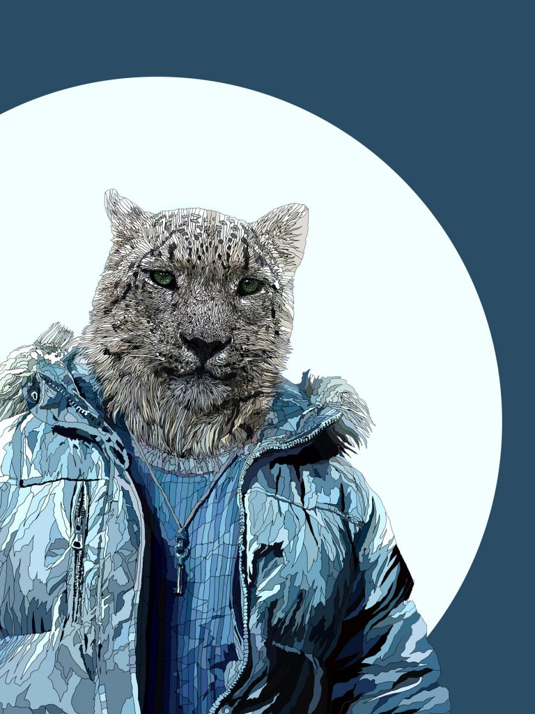 Gimmee Shelter - snow leopard human hybrid art - digital art created with a digital pen and tablet