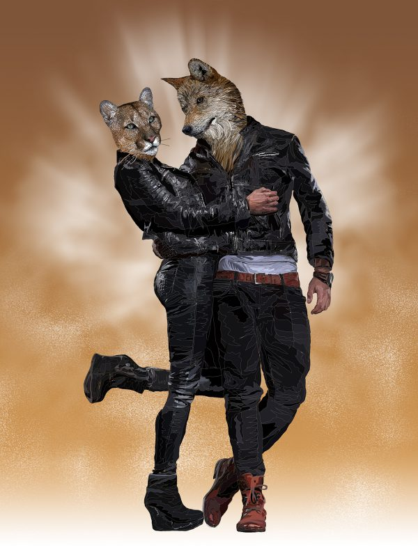 True Romance - Anthropomorphic art featuring a Wolf and a Puma human hybrids in a loving embrace