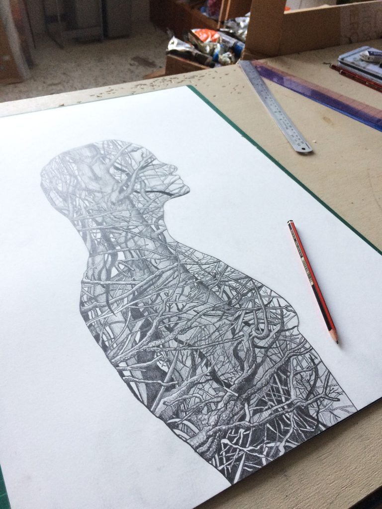Human Nature 1 pencil drawing by Paul Kingsley Squire