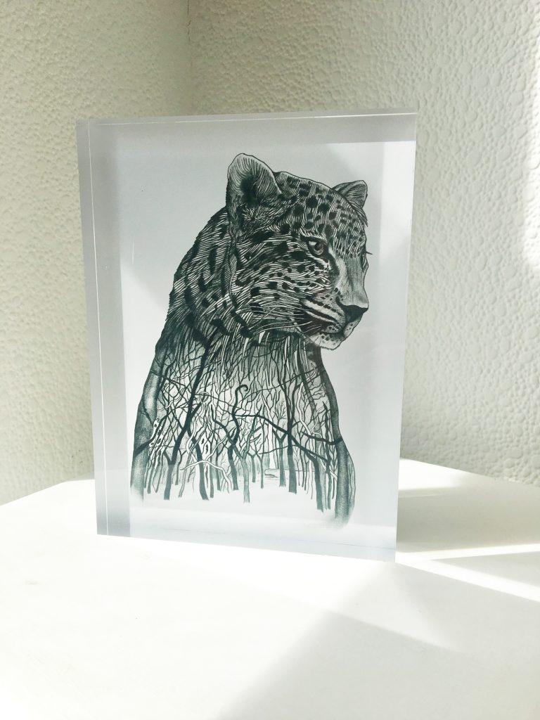 Amur Leopard on special edition acrylic glass block