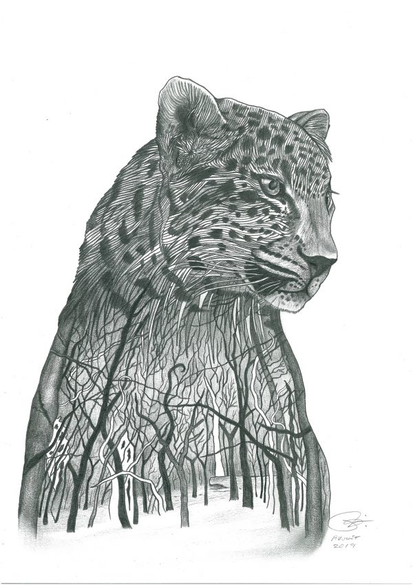 Amur leopard drawing print on acrylic glass block
