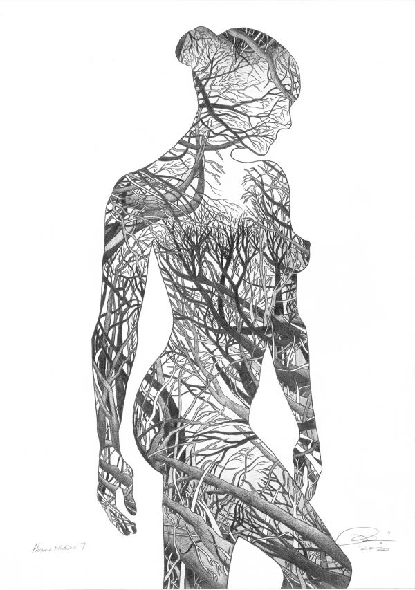 Human Nature 7 - acrylic glass block print